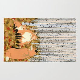 Fox family in the autumn forest Rug