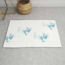 Ink spot in the form of a pair of azure angels Rug