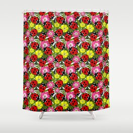 Colourful Ladybirds and Flowers Pattern Shower Curtain