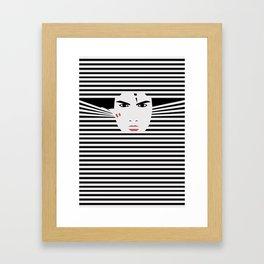 Peeking Man (Black) Framed Art Print