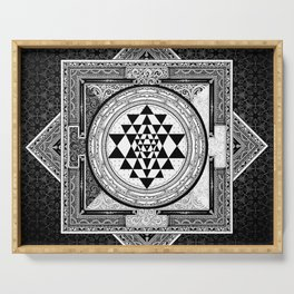 Sri Yantra Black & White Sacred Geometry Mandala Serving Tray