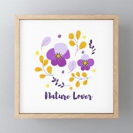 Nature lover - Purple flowers and gold leaves  Framed Mini Art Print