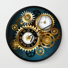 Two Steampunk Clocks with Gears Wall Clock