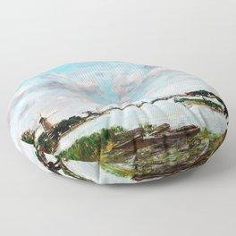 The Meuse near Dordrecht - Digital Remastered Edition Floor Pillow