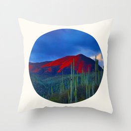 Mid Century Modern Round Circle Photo Red Mountain Sunset With Field of Green Cactus Throw Pillow