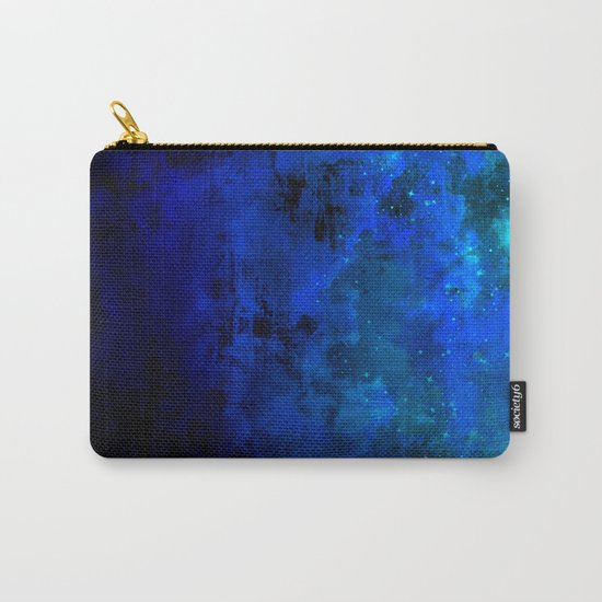 SECOND STAR TO THE RIGHT Rich Indigo Navy Blue Starry Night Sky Galaxy Clouds Fantasy Abstract Art Carry-All Pouch
