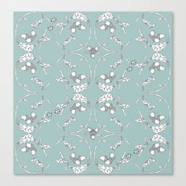 Acorns and Ladybugs blue pattern Canvas Print