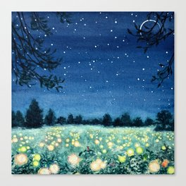 Dance of the Fairies and the Fireflies Canvas Print