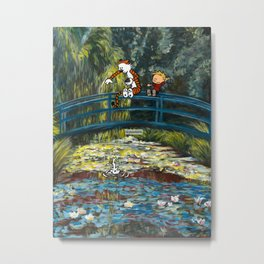 Calvin and Hobbes/Monet Mashup Fanart Metal Print