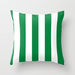 Classic Cabana Stripes in White + Kelly Green Throw Pillow
