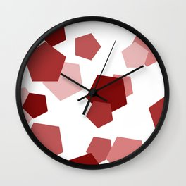 Pink Pentagons Wall Clock