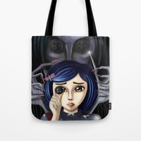 coraline Tote Bags featuring Coraline and the secret door by Artik