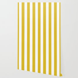 Durian Yellow - solid color - white vertical lines pattern Wallpaper