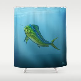 """El Dorado"" by Amber Marine ~ Mahi Mahi / Dolphin Fish Art, (Copyright 2015) Shower Curtain"