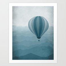 Hot Air Balloon in Blue Art Print