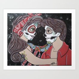 Rockabilly Sugar Skull Art Print