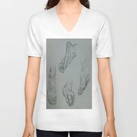 feet V-neck T-shirts featuring Feet by Esteban Garza