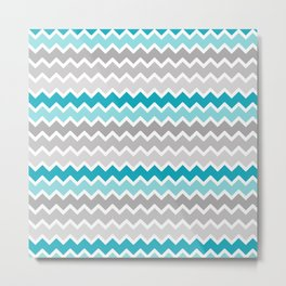 Turquoise Teal Blue Gray Chevron Metal Print