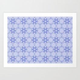Stars and Hexagons Pattern - Mood Indigo Art Print