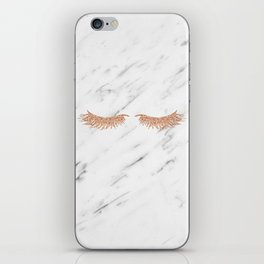 Rose gold marble lash envy iPhone Skin