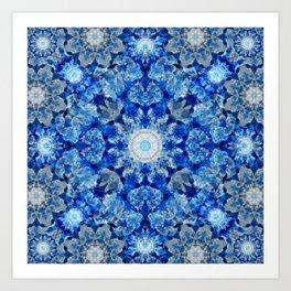 Aqua Crystal Mandala Art Print