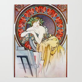 "Alphonse Mucha ""Girl With Easel"" Poster"