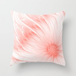 Pastel Living Coral Flower Trendy color Abstract Pink Peachy Orange Daisy Fractal Art Throw Pillow