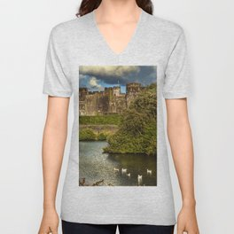 Caerphilly Castle Western Towers Unisex V-Neck