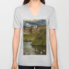Caerphilly Castle Western Towers Unisex V-Neck