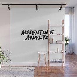Adventure Awaits Hand Letter Type Word Black & White Wall Mural