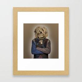 Shaggy mixed-breed dog I Framed Art Print