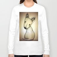 bull terrier Long Sleeve T-shirts featuring Bull Terrier Pup by Caroline Blicq