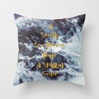 sailor Throw Pillows featuring Sailor by Alicia Bock