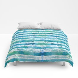 blue green watercolor stripes Comforters