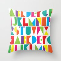 alphabet Throw Pillows featuring Alphabet by Rachel Lee