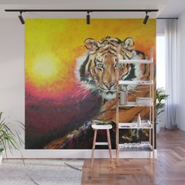 Awaiting the Darkness of Night (Male Tiger) Wall Mural