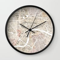 london map Wall Clocks featuring London map by Mapsland