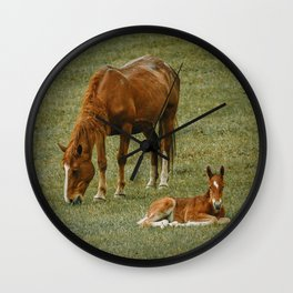 Horse And Foal Wall Clock