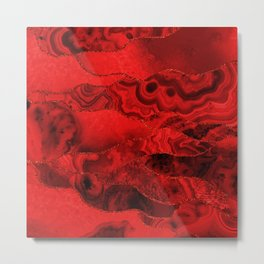 Red Geode Marble Patterns with Red Glittery Lines Metal Print
