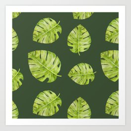 Watercolor Flowers Monstera Plant Art Print