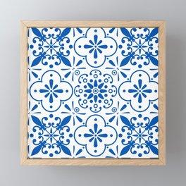 Azulejos Portugese tiles pattern Framed Mini Art Print