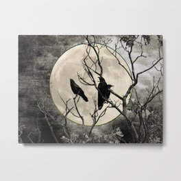 Black White Crows Birds Tree Moon Landscape Home Decor Matted Picture Print A268 Metal Print