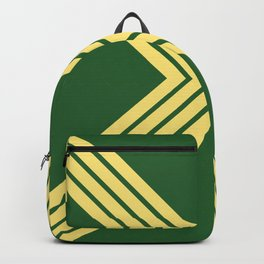 Colorful Green Yellow 70s 80s Vintage Style Retro Stripes X Cross Backpack