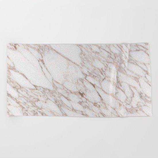 White Marble Carrara Calacatta Beach Towel