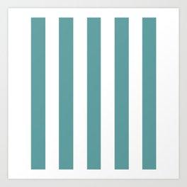 Cadet blue - solid color - white vertical lines pattern Art Print