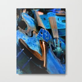 Blue Violin Metal Print