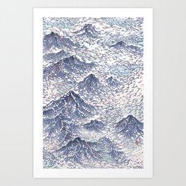 Distant View - 遠望 series -Linocut Art Print