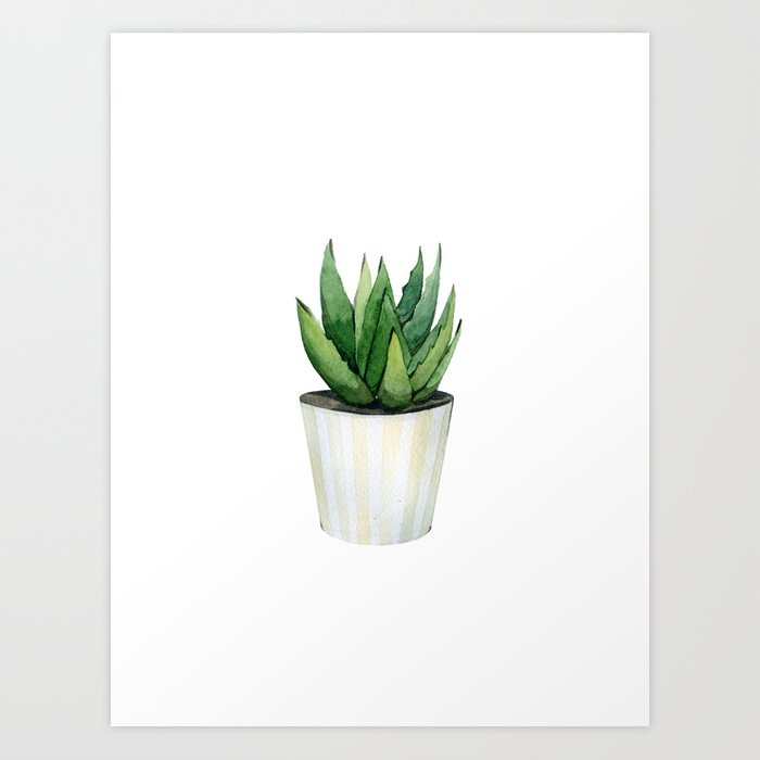 Discover the motif ALOE VERA PLANT IN A POT. by Art by ASolo as a print at TOPPOSTER