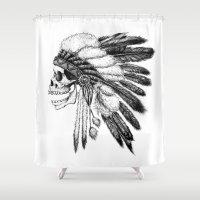 vans Shower Curtains featuring Native American by Motohiro NEZU