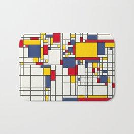 World Map Abstract Mondrian Style Bath Mat